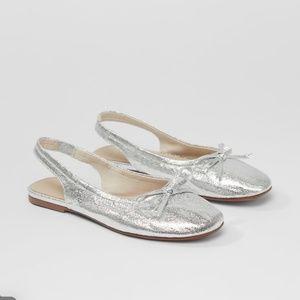 • Zara • Metallic Slingback Flats